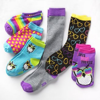 Pink Cookie 6-pk. owl glasses socks - girls