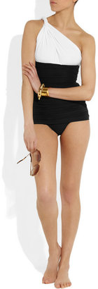 Norma Kamali One-shoulder ruched swimsuit