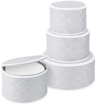 Container Store Quilted Dinnerware Storage Cases Grey Set of 4