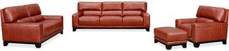 Luke II Leather 4-Piece Sofa Set (Sofa, Loveseat, Chair & Ottoman)