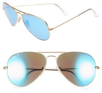 Women's Ray-Ban Standard Icons 58Mm Mirrored Polarized Aviator Sunglasses - Gold/ Blue Mirror $200 thestylecure.com