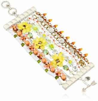 Betsey Johnson Summer of Love Mixed Colored Bead Multi-Row Toggle Bracelet
