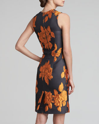 Vera Wang Rose Jacquard Sheath Dress, Tangerine/Black