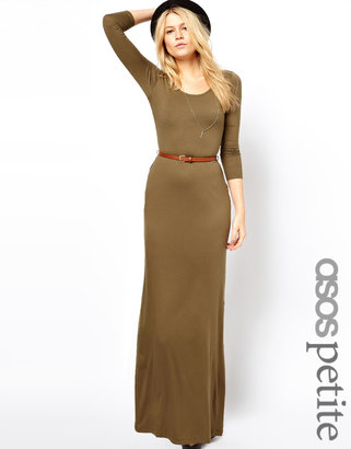 Asos Exclusive Long Sleeve Maxi Dress With Belt