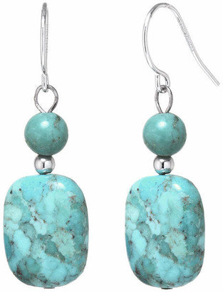 FINE JEWELRY Enhanced Turquoise Rectangle Stone Drop Earrings