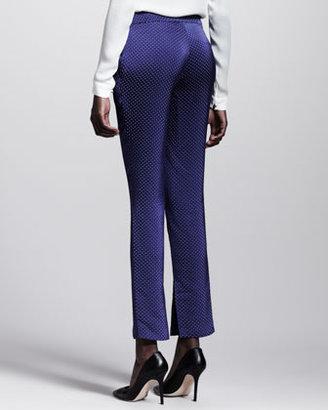 Wes Gordon Ascot Dotted Side-Slit Skinny Pants
