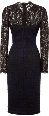 Valentino Tweed Dress with Lace Neckline and Sleeves
