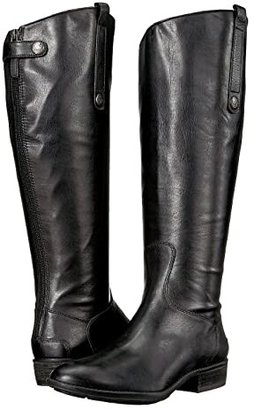 Sam Edelman Penny 2 Wide Calf Leather Riding Boot (Black) Women's Zip Boots