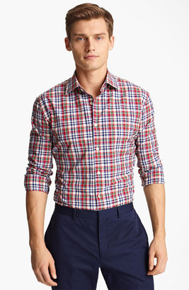 Paul Smith Tartan Plaid Shirt Medium Red 16.5