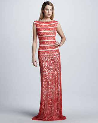 Tadashi Shoji Striped Lace Column Gown