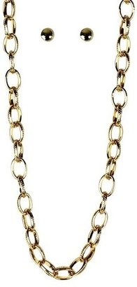 Stud Earrings and Chain Necklace Set - Gold