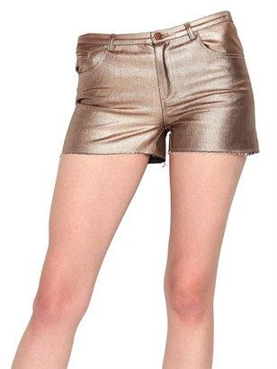 American Retro Metallic Denim Stretch Shorts