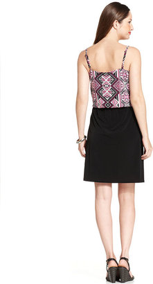 Style&Co. Printed-Bodice Keyhole Blouson Dress