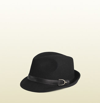 Gucci Fedora With Leather And Spur Detail