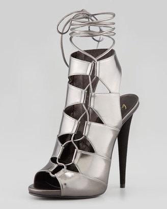 Giuseppe Zanotti Metallic Side-Lace Ankle-Tie Sandal