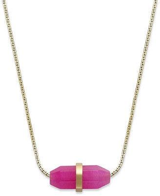 Michael Kors Necklace, Gold-Tone Small Pink Geode Pendant Necklace