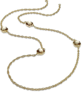 Charter Club Necklace, Gold-Tone Crystal Long Chain Necklace