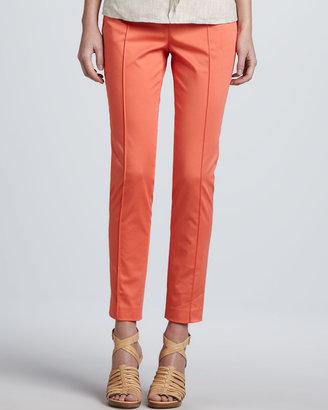 Magaschoni Slim Stretch Poplin Pants, Coral