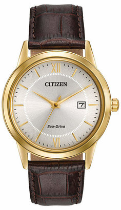Citizen Eco-Drive Mens Brown Leather Strap Watch AW1232-04A