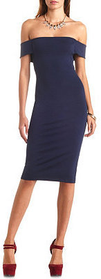 Charlotte Russe Off-the-Shoulder Bodycon Midi Dress