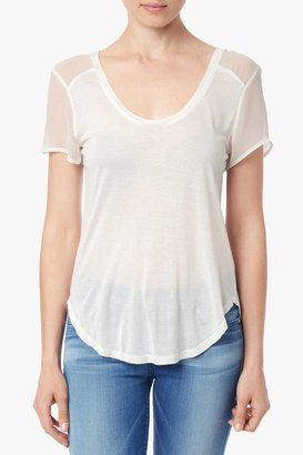 7 For All Mankind Tee With Chiffon Sleeve In Eggshell