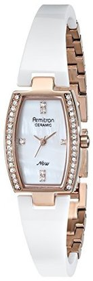 Armitron Women's 75/5143MPRGWT Swarovski Crystal-Accented Rose Gold-Tone Bangle Watch $95 thestylecure.com