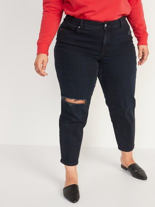 Old Navy High-Waisted Secret-Slim Pockets O.G. Straight Plus-Size Ripped Jeans