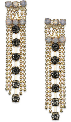 Bar III Gold-Tone Multistone Chain Linear Drop Earring