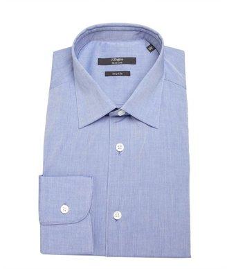 Z Zegna blue cotton spread collar button front shirt