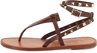 Valentino Rockstud Ankle-Wrap Thong Sandal, Chocolate