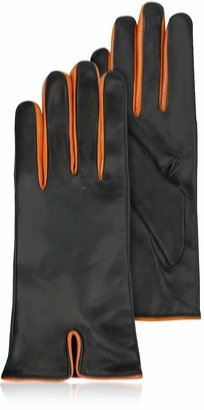 Forzieri Black & Orange Cashmere Lined Leather Ladies' Gloves