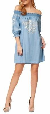 Dex Off-The-Shoulder Embroidered Shift Dress