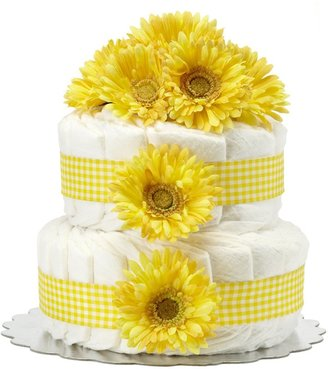 Bella Sprouts Two-Tier Diaper Cake - Yellow Gingham Daisies