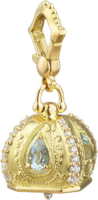 Paul Morelli 18k Diamond/Aquamarine Meditation Bell Pendant, 14mm
