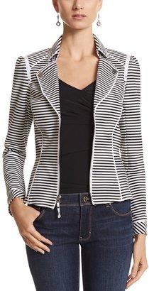 White House Black Market Stripe Knit Moto Jacket