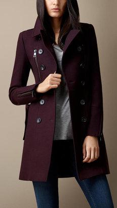 Burberry Double Wool Twill Zip Detail Coat