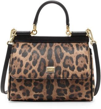Dolce & Gabbana Miss Sicily Small Leopard-Print Satchel Bag