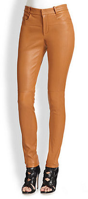 Halston Leather Skinny Pants