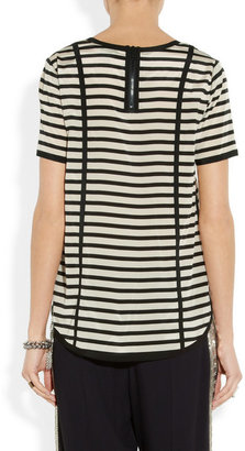 DKNY Striped stretch-silk crepe de chine blouse