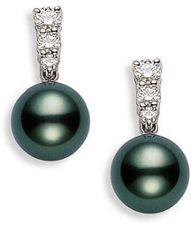 Mikimoto Women's 'Morning Dew' Black South Sea Cultured Pearl & Diamond Earrings