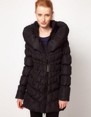Vero Moda Padded Shawl Collar Long Belted Coat