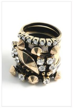 Iosselliani Five Stacked Brass Rings with Swarovski Stones