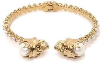 Alexander McQueen Pearl Crown Twin Skull Bracelet