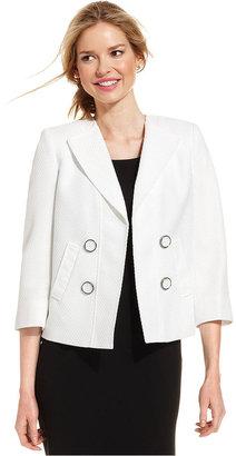 Kasper Three-Quarter-Sleeve Textured Jacket