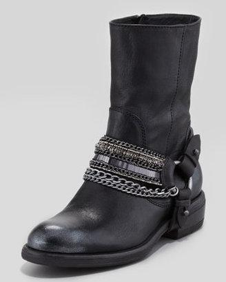 Vera Wang Valencia Moto Leather Boot, Black
