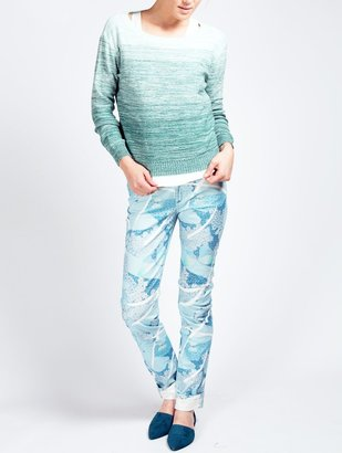Band Of Outsiders Blue Butterfly Daydream Print Skinny Jean