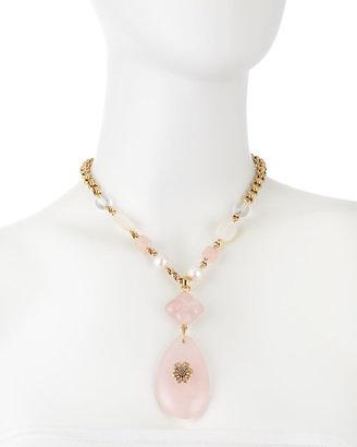 Stephen Dweck Rose Quartz-Pearl Pendant Necklace