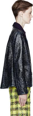 Roksanda Ilincic Navy Laminated Wool Short Peacoat