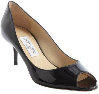 Jimmy Choo black leather peep toe 'Isabel' pumps