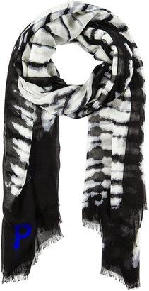 Proenza Schouler Cashmere Silk Scarf in Black & White Tie Dye